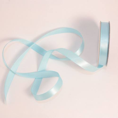 Ruban satin en bobine bleu ciel 9 mm