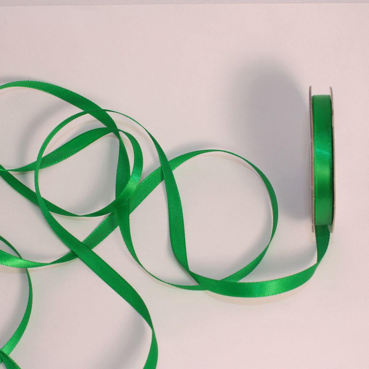 Ruban satin en bobine vert 6 mm
