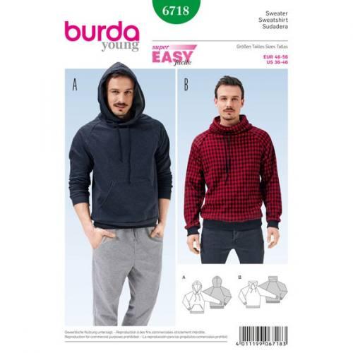 Patron Burda 6718 : Sweatshirt 46-56