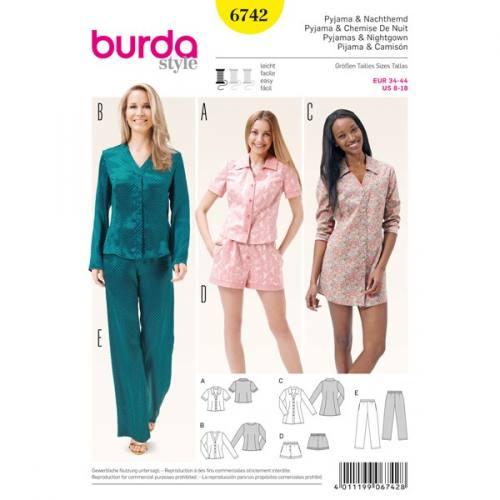 Patron Burda 6742 : Pyjama & chemise de nuit taille 34-44