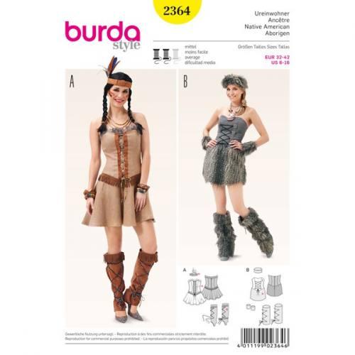 Patron Burda 2364 Carnaval : Indienne et age de pierre Taille: 32-42