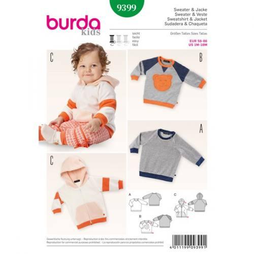 Patron Burda 9399: Sweat et veste bébé Taille 56-86 cm