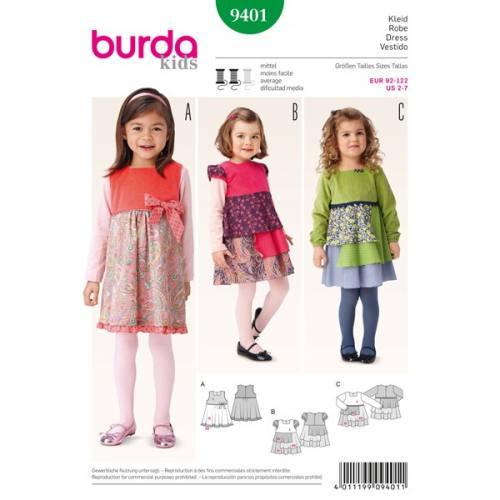 Patron Burda 9401: Robe fillette Taille 92-122 cm