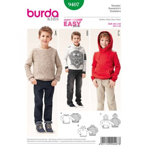 Patron Burda 9407: Sweat enfant Taille 104-140 cm