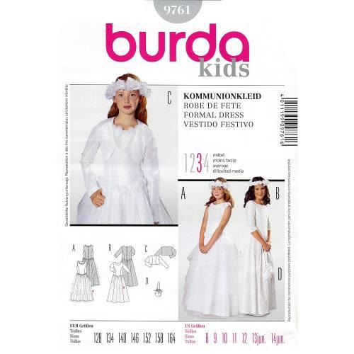 Patron Burda 9761: Robe de fête pour fillette Taille : 128cm-164cm