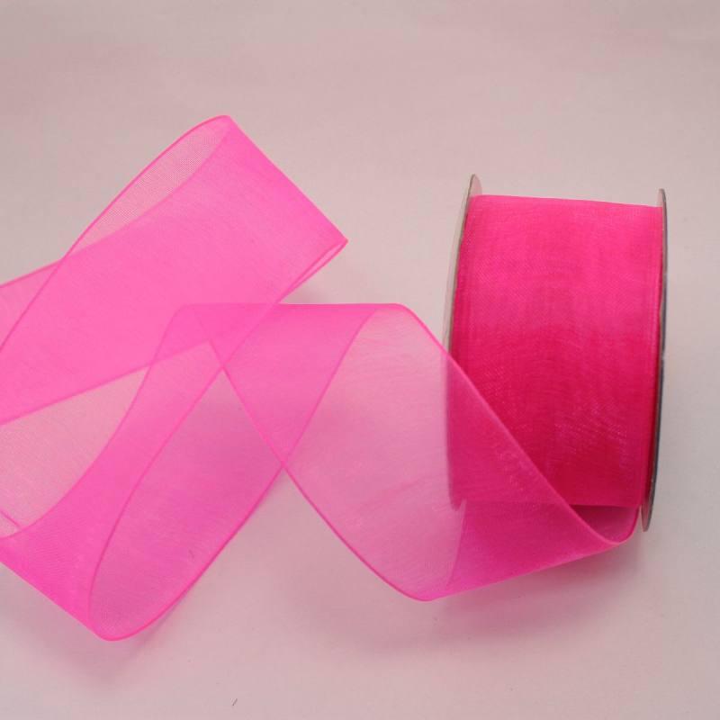 Ruban organdi en bobine rose foncé 32 mm