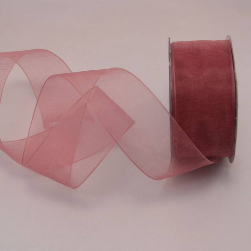 Ruban organdi en bobine rose balais 25 mm