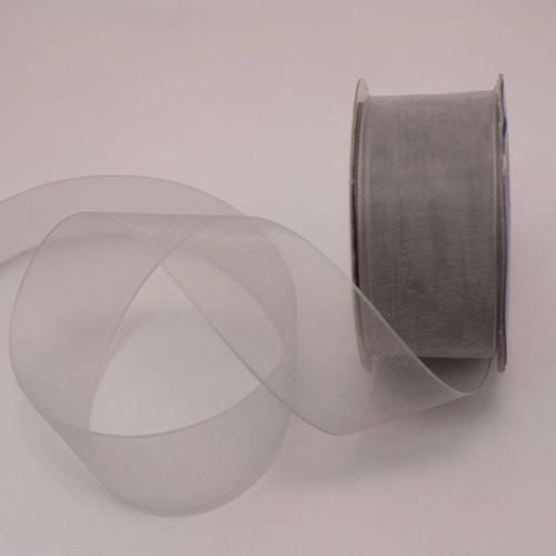 Ruban organdi en bobine argent 25 mm