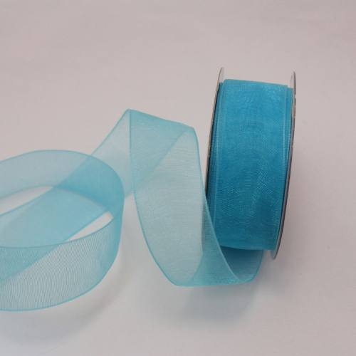 Ruban organdi en bobine bleu azur 20 mm