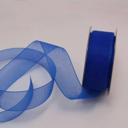 Ruban organdi en bobine bleu 20 mm