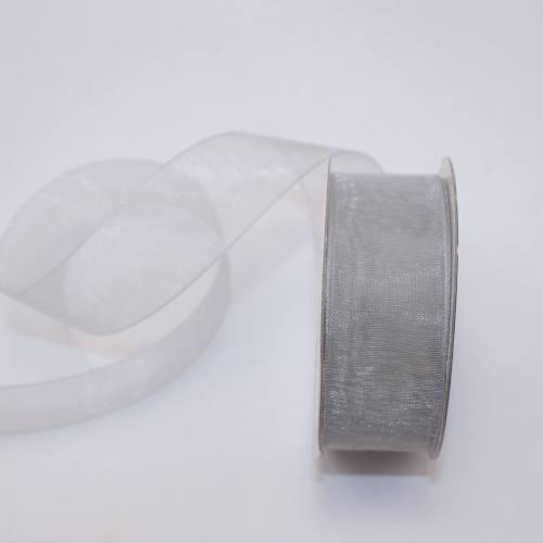Ruban organdi en bobine argent 20 mm