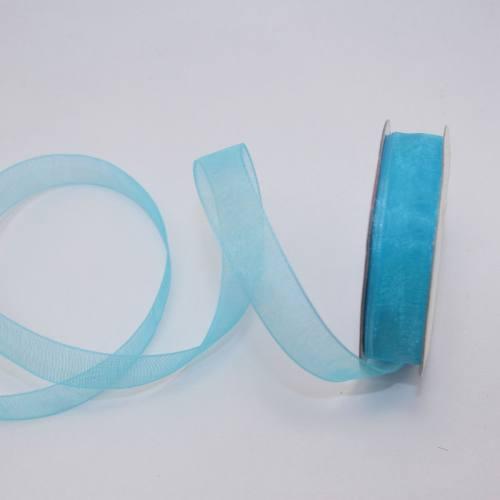 Ruban organdi en bobine bleu azur 12 mm