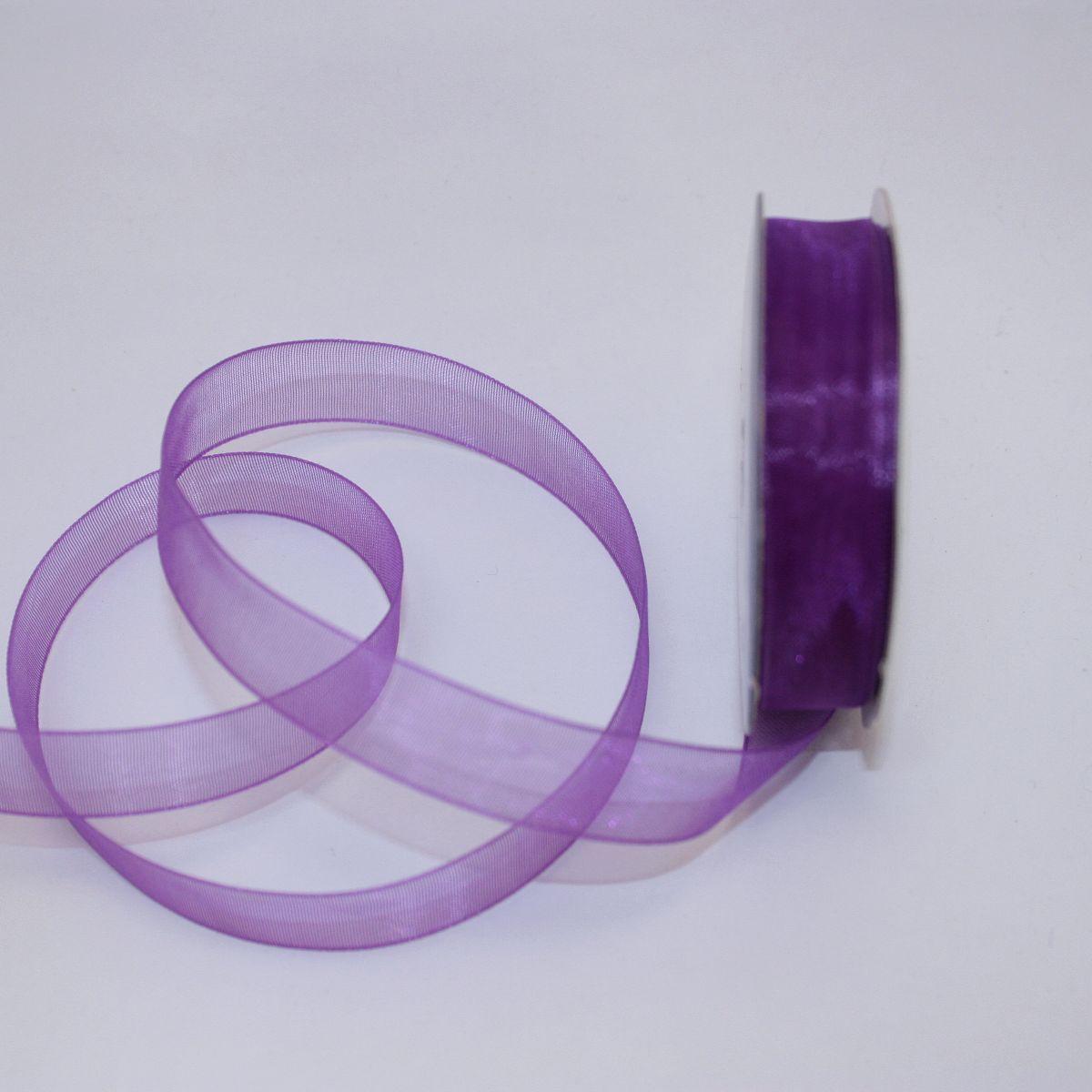 Ruban organdi en bobine violet 12 mm
