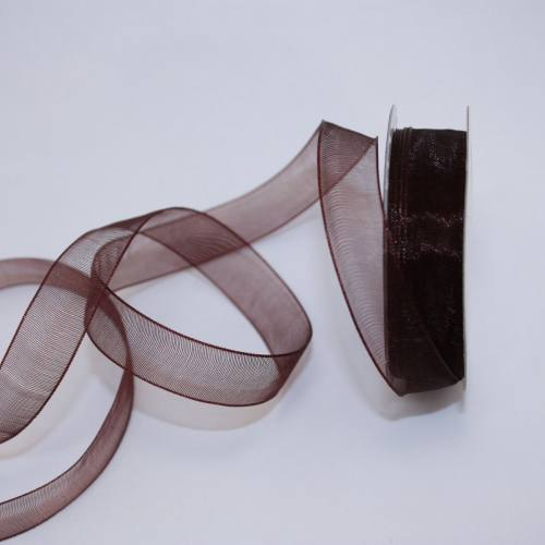 Ruban organdi en bobine marron foncé 12 mm