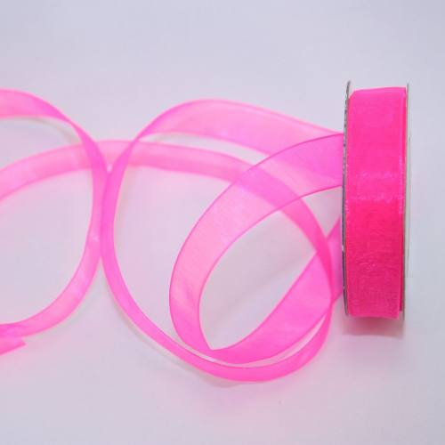 Ruban organdi en bobine rose foncé 12 mm