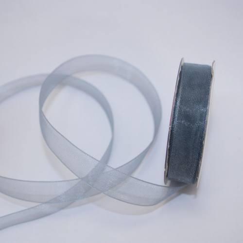Ruban organdi en bobine gris 12 mm