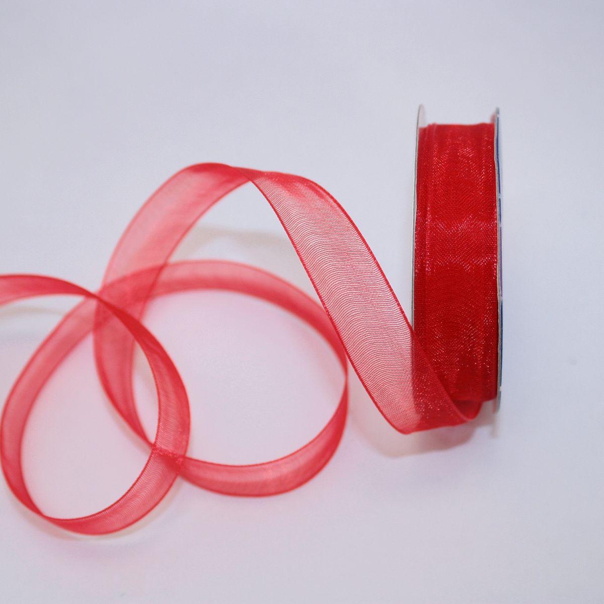 Ruban organdi en bobine rouge 12 mm