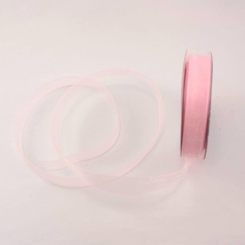 Ruban organdi en bobine vieux rose 9 mm