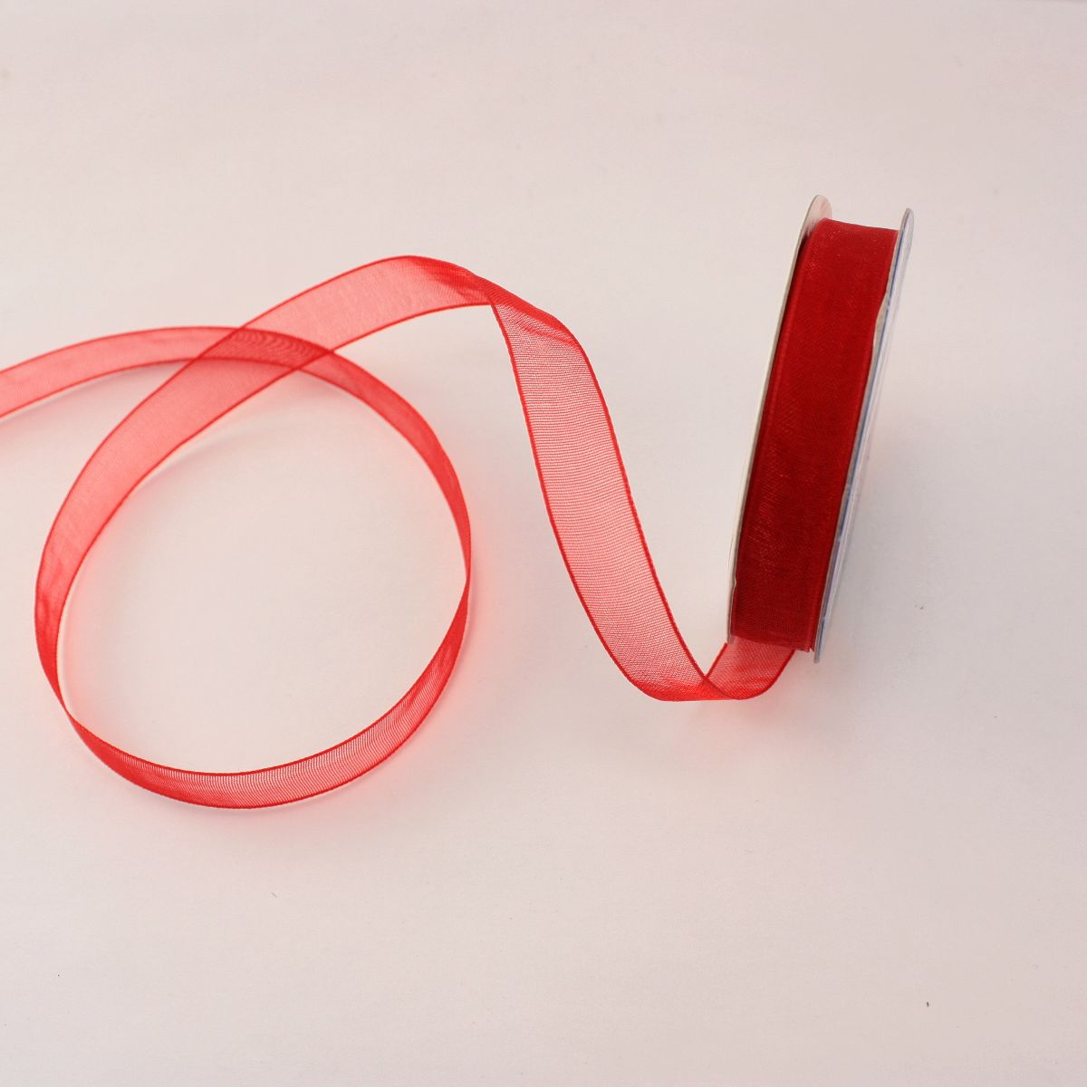 Ruban organdi en bobine rouge 9 mm