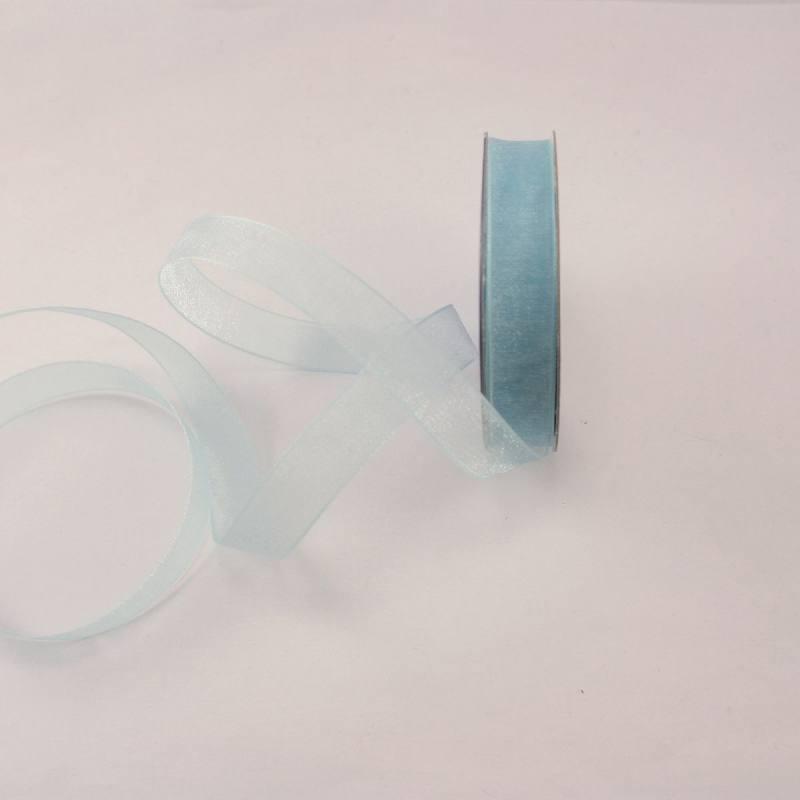 Ruban organdi en bobine bleu azurin 9 mm