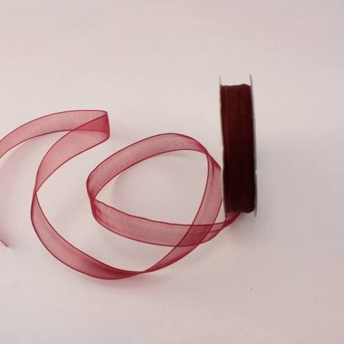 Ruban organdi en bobine bordeaux 9 mm