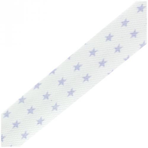 Biais replié blanc étoiles parme