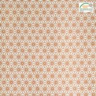 Coton enduit blanc motif asanoha cuivre