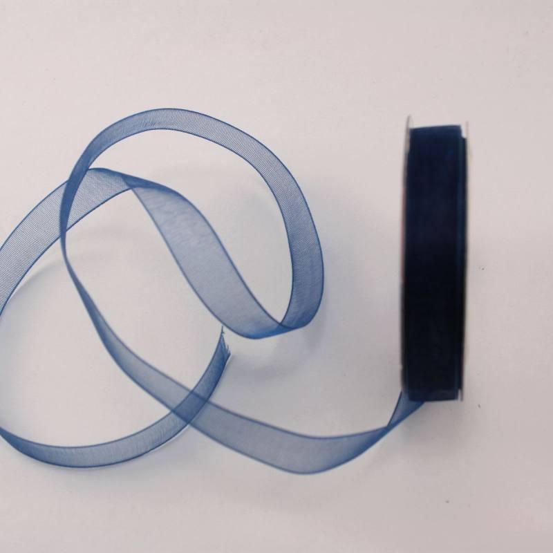 Ruban organdi en bobine bleu marine 9 mm
