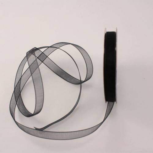Ruban organdi en bobine noir 6 mm