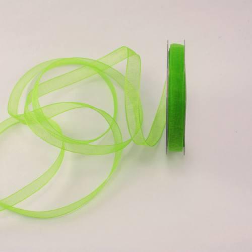Ruban organdi en bobine vert 6 mm