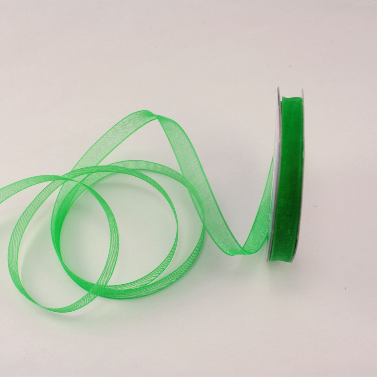Ruban organdi en bobine vert foncé 6 mm