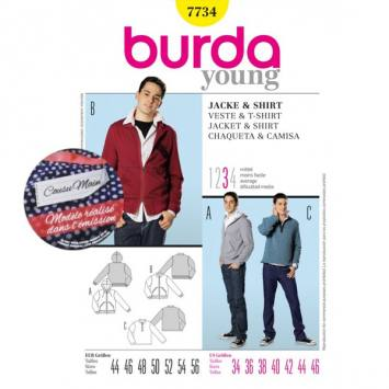 Patron N°7734 Burda style : Veste, shirt Taille : 44-56