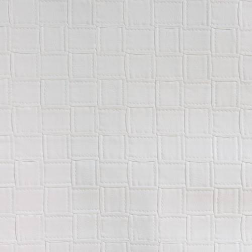 Simili cuir blanc motifs carrés
