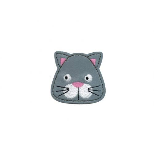 "Ecusson en simili cuir ""Chat gris"" thermocollant"