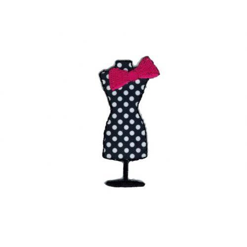 """Ecusson """"Mannequin de couture"""" thermocollant noir"""