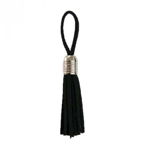 Pompon franges suédine noir 5.5cm