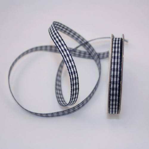 Ruban vichy en bobine bleu marine 6 mm