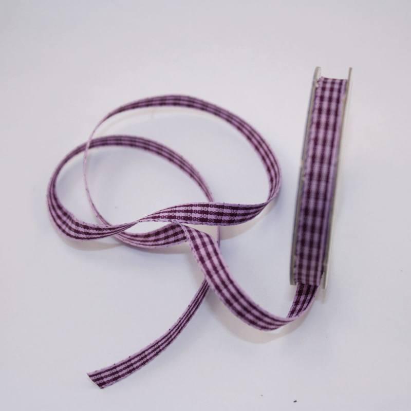 Ruban vichy en bobine violet 6 mm