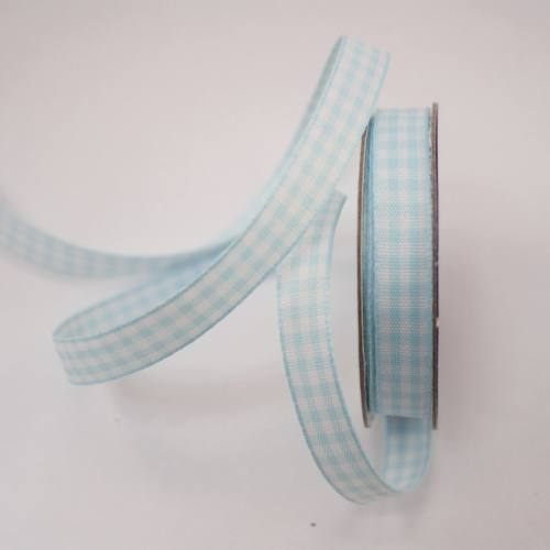 Ruban vichy en bobine bleu ciel 9 mm
