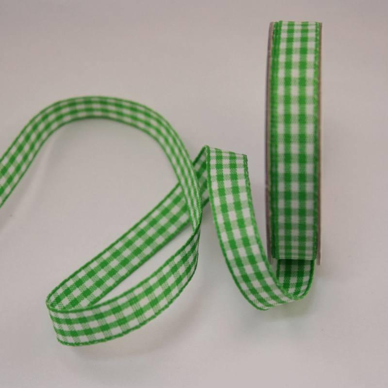 Ruban vichy en bobine vert 9 mm