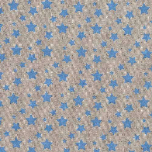 Toile coton effet lin imprimée étoiles bleues ciel