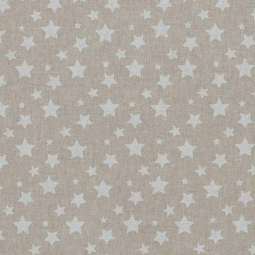 Toile coton effet lin imprimée étoiles blanches