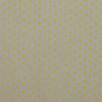 Toile coton effet lin imprimée pois anis
