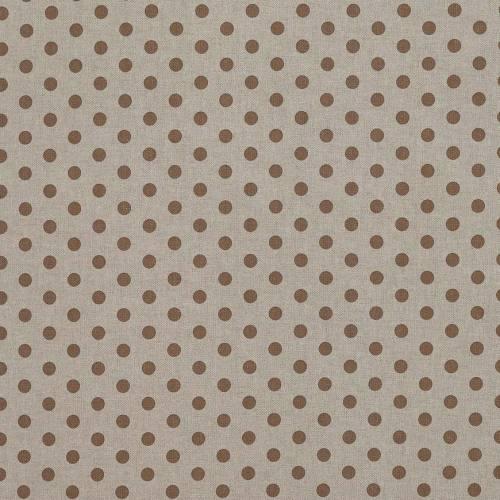Toile coton effet lin imprimée pois marrons