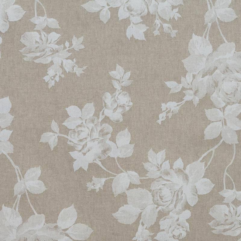 Toile coton effet lin imprimée fleurs blanches - Tissus Price