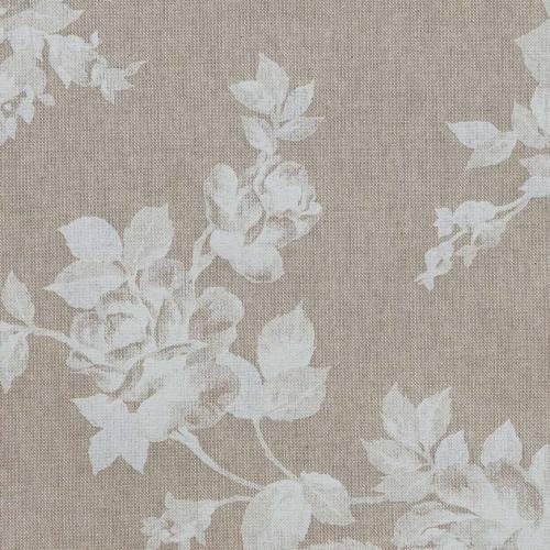 Toile coton effet lin imprimée fleurs blanches