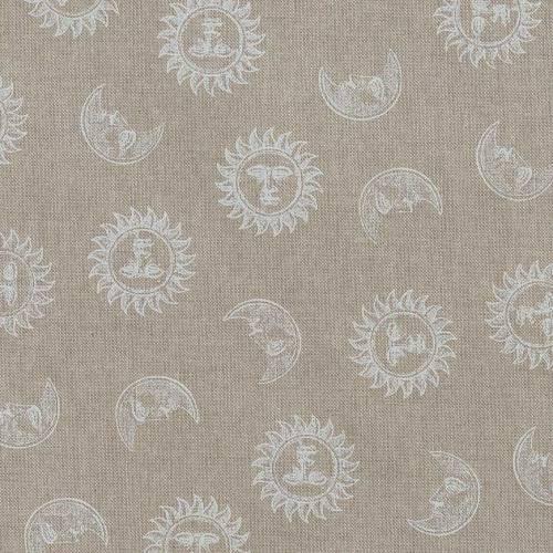 Toile coton effet lin imprimée lune et soleil blancs