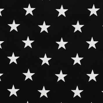 Coton noir imprimé étoiles blanches 5,5cm