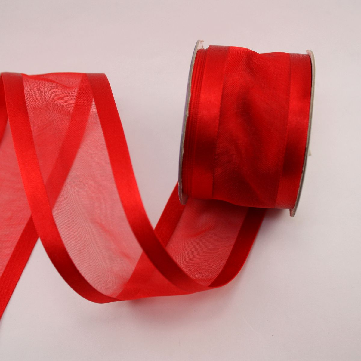 Ruban fantaisie en bobine rouge 38 mm