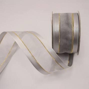 Ruban fantaisie en bobine argent 32 mm